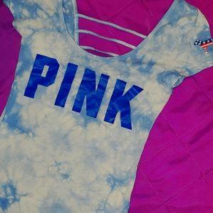 Blue tie dye PINK by VS one-piece bodysuit